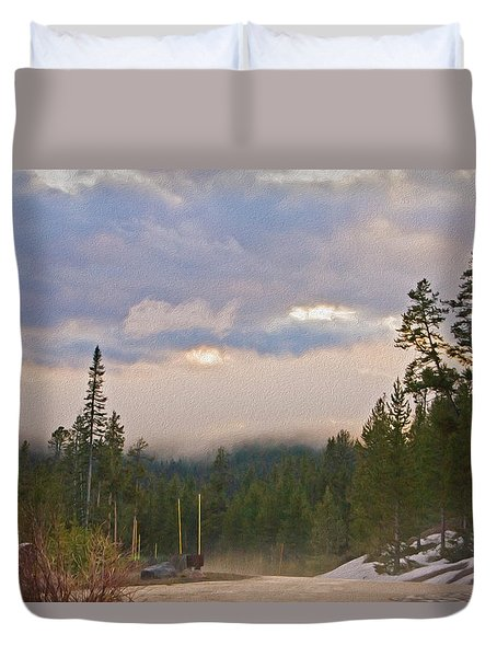 Dark Forest Morning Duvet Cover