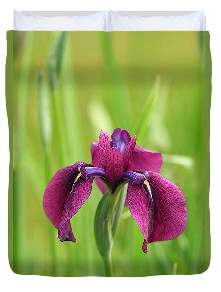 Dark Magenta Iris Duvet Cover
