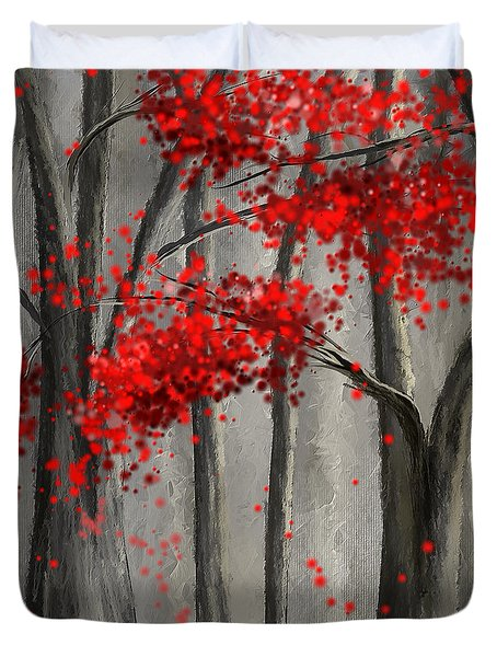 Dark Passion- Red And Gray Art Duvet Cover