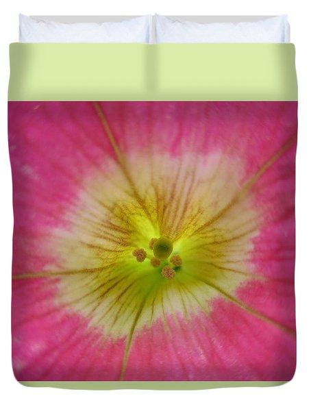 Dark Pink Petunia Center 2 Duvet Cover by Barbara Yearty