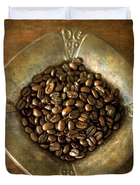 Dark Roast Coffee Beans And Antique Silver Duvet Cover
