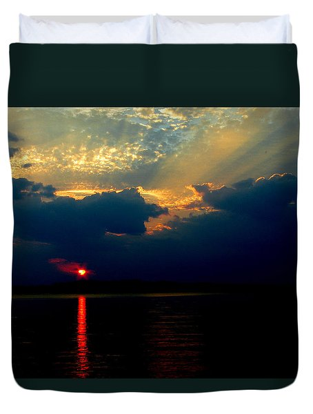 Duvet Cover featuring the photograph Cloudy Sunset by James C Thomas