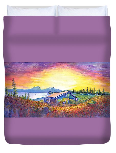 Duvet Cover featuring the painting Dark Star Orchestra Dillon Amphitheater by David Sockrider