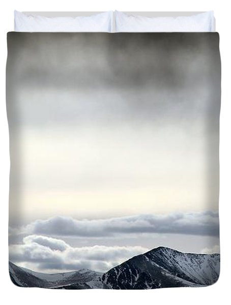 Duvet Cover featuring the photograph Dark Storm Cloud Mist  by Barbara Chichester