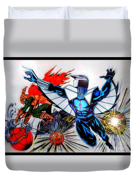 Darkhawk Vs Hobgoblin Focused Duvet Cover
