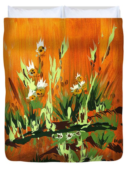 Duvet Cover featuring the painting Darlinettas by Holly Carmichael