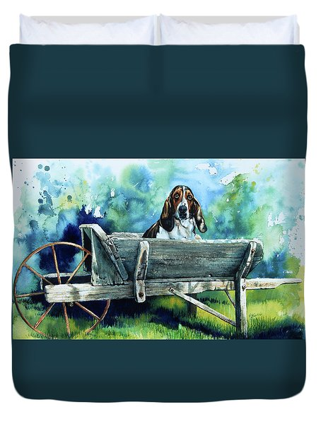 Duvet Cover featuring the painting Darn Dog Days by Hanne Lore Koehler