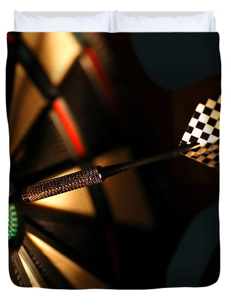 Dart Board In Bar Duvet Cover by Michal Bednarek