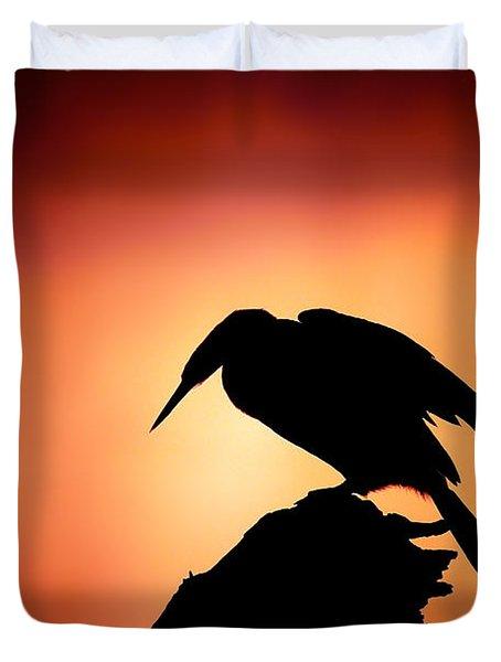 Darter Silhouette With Misty Sunrise Duvet Cover