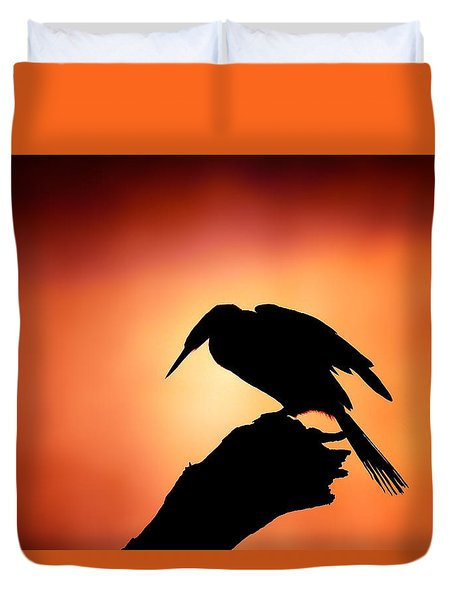Darter Silhouette With Misty Sunrise Duvet Cover