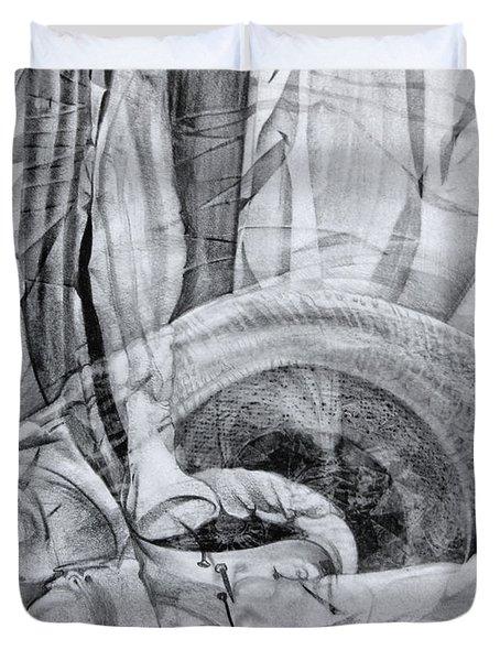 Duvet Cover featuring the drawing Das Monster Hat Sich Im Ungebuegelten Hintergrund Versteckt by Otto Rapp