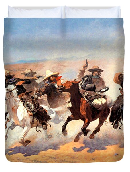 Dash For The Timber Duvet Cover by Frederic Remington