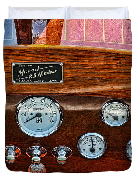 Dashboard In A Classic Wooden Boat Duvet Cover