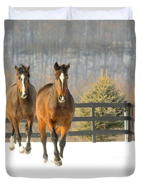 Dashing Through The Snow Duvet Cover by Carol Lynn Coronios