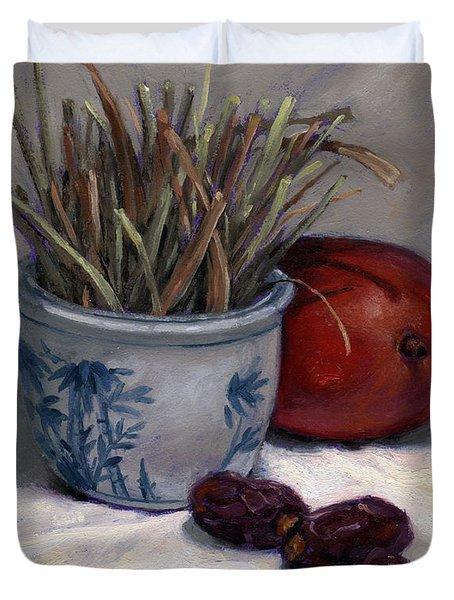 Dates Lemongrass And Mango Duvet Cover
