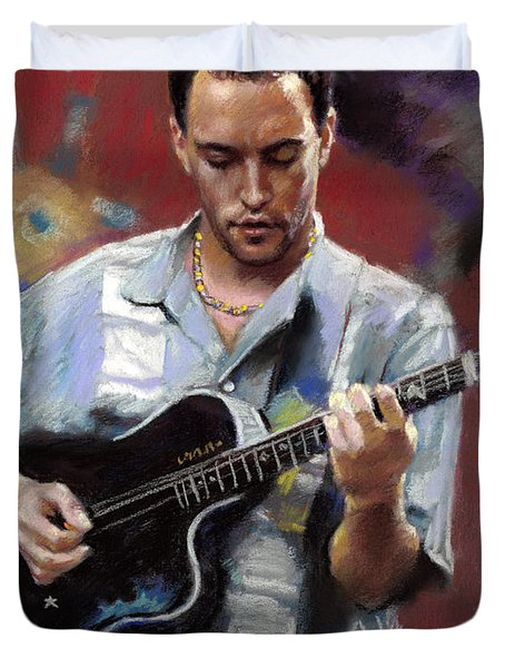 Duvet Cover featuring the drawing Dave Matthews by Viola El