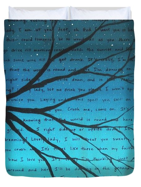 Dave Matthews Band Crush Lyric Art - Blue Duvet Cover