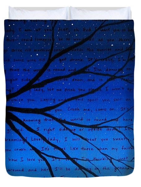 Dave Matthews Band Crush Song Lyric Art Duvet Cover