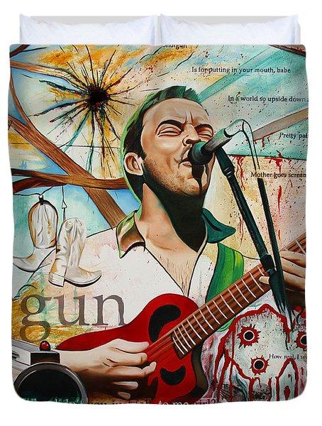 Dave Matthews Shotgun Duvet Cover by Joshua Morton