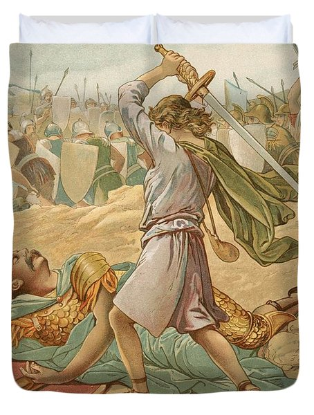 David About To Slay Goliath Duvet Cover by John Lawson