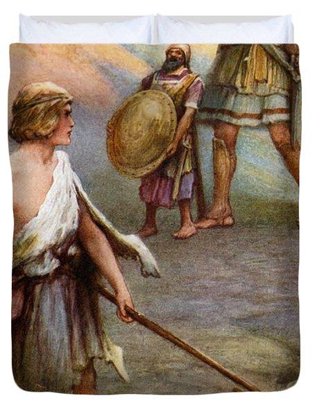 David And Goliath Duvet Cover by Arthur A Dixon