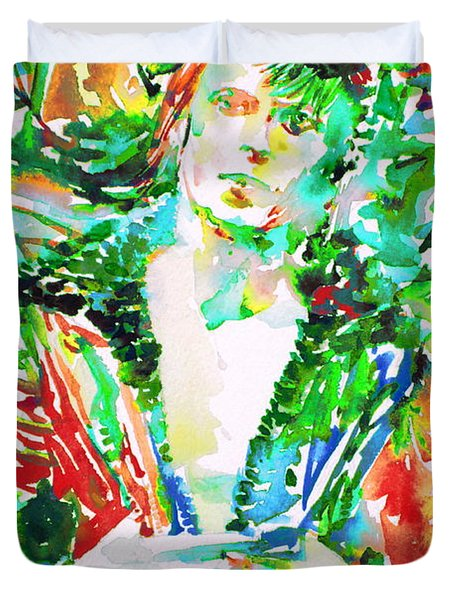 David Bowie Watercolor Portrait.2 Duvet Cover