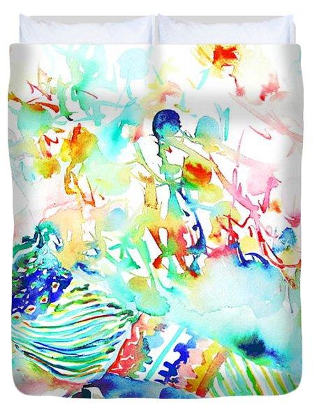 David Bowie Watercolor Portrait.3 Duvet Cover by Fabrizio Cassetta
