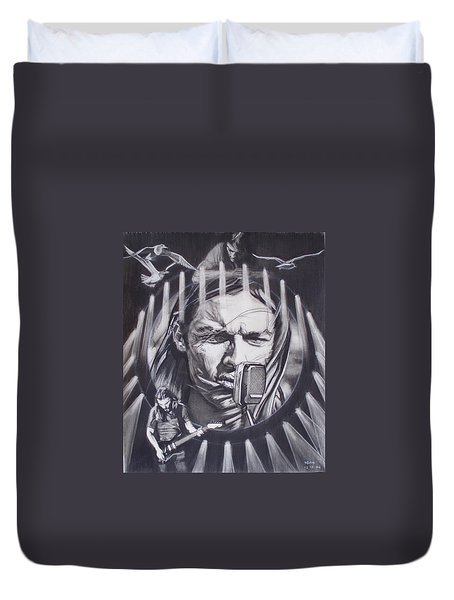 David Gilmour Of Pink Floyd - Echoes Duvet Cover by Sean Connolly