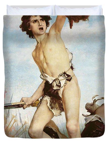David Victorious Over Goliath Duvet Cover by Gabriel Joseph Marie Augustin Ferrier