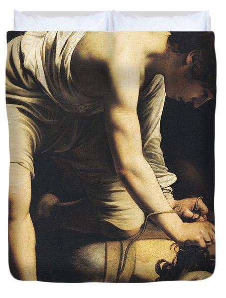 David Victorious Over Goliath Duvet Cover by Michelangelo Merisi da Caravaggio