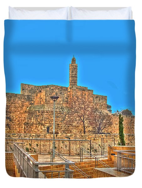 Duvet Cover featuring the photograph Davids Citadel - Israel by Doc Braham