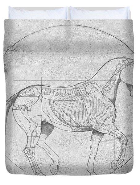 Da Vinci Horse Piaffe Grayscale Duvet Cover