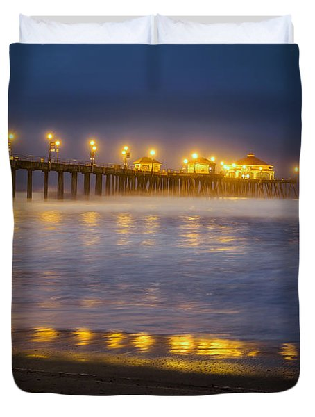 Dawn At Huntington Beach Pier By Denise Dube Duvet Cover