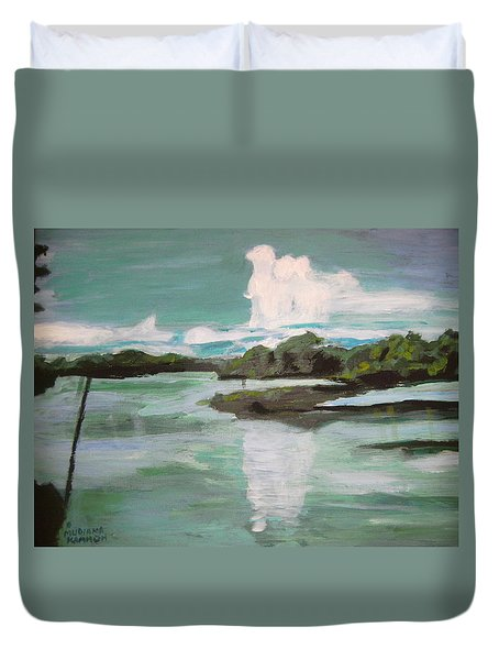 Duvet Cover featuring the painting Dawn Breaks On Jong River Mattru Sierra Leone by Mudiama Kammoh