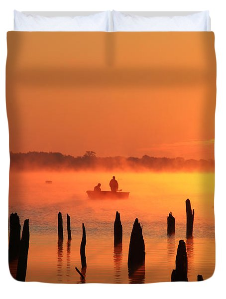 Dawn Fishing Duvet Cover by Roger Becker