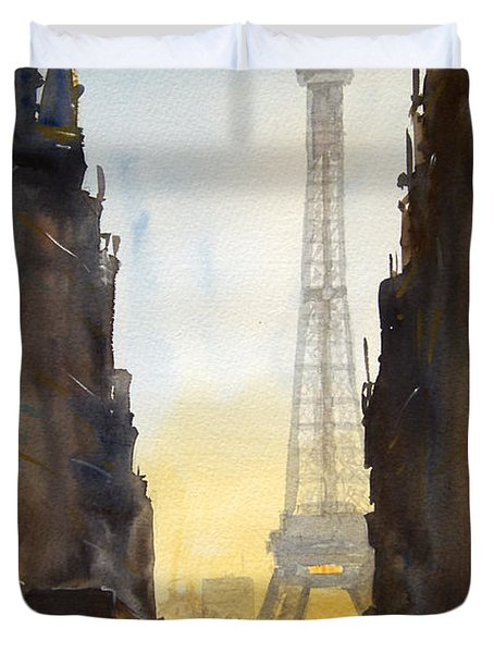 Dawn In Paris Duvet Cover