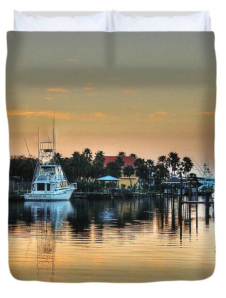 Duvet Cover featuring the photograph Dawn On A Orange Beach Canal by Michael Thomas
