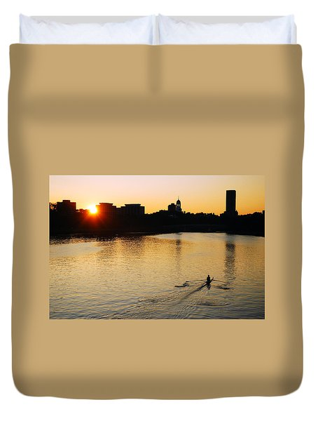 Duvet Cover featuring the photograph Dawn On The Charles by James Kirkikis