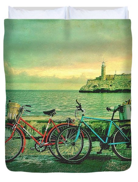 Dawn On The Havana Waterfront Duvet Cover