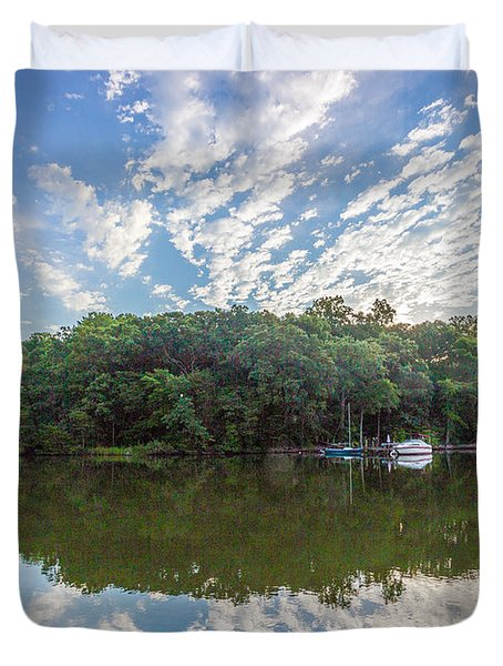 Dawn On The Magothy River Duvet Cover