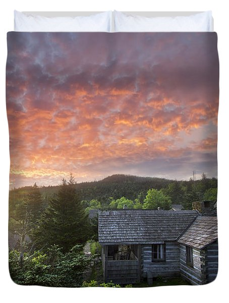 Dawn Over Leconte Duvet Cover by Debra and Dave Vanderlaan