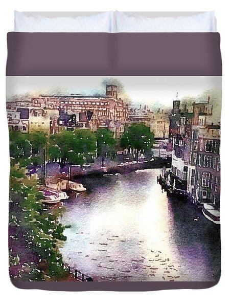 Dawn Rain Amsterdam Duvet Cover by Susan Maxwell Schmidt