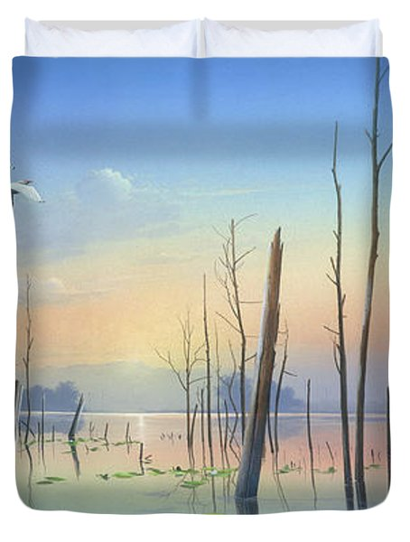 Duvet Cover featuring the painting Dawns Early Light by Mike Brown