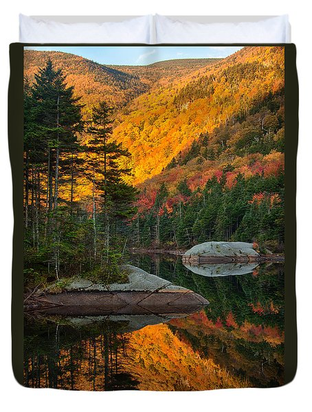 Duvet Cover featuring the photograph Dawns Foliage Reflection by Jeff Folger