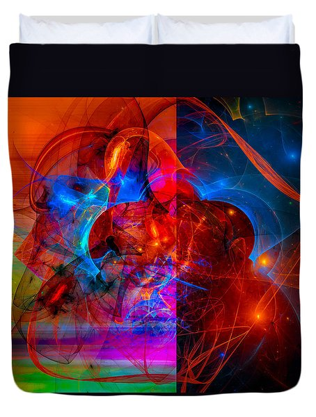 Colorful Digital Abstract Art - Day And Night Duvet Cover