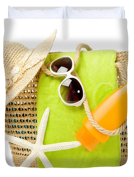 Day At The Beach Duvet Cover by Amanda Elwell