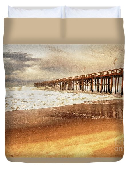 Day At The Pier Large Canvas Art, Canvas Print, Large Art, Large Wall Decor, Home Decor, Photograph Duvet Cover by David Millenheft