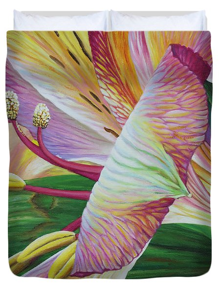 Duvet Cover featuring the painting Day Lilies by Jane Girardot