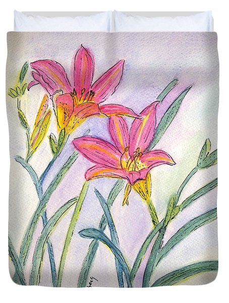 Duvet Cover featuring the painting Day Lilies by Linda Feinberg