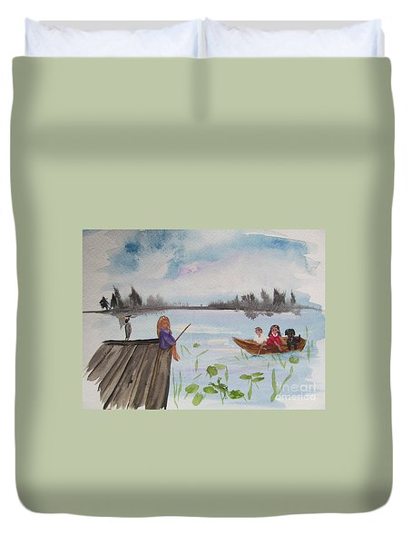 Day Of Fishing Duvet Cover